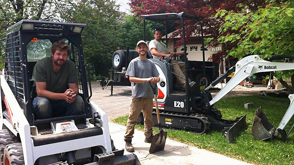Bren, Jonas and Nate get ready to excavate a front yard and create a new landscape for the homeowner. A landscaping project in London Ontario.